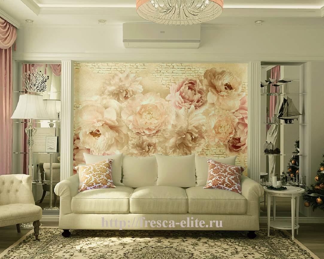 самый дизайн гостиной с фотообоями в розовом цвете урок